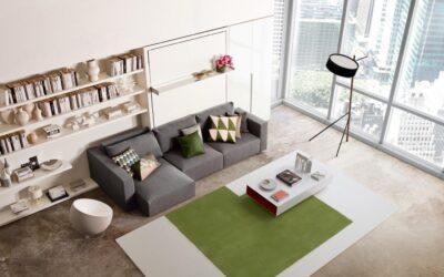 Шкаф кровать с диваном, реклайнером и бельевым ящиком — Италия