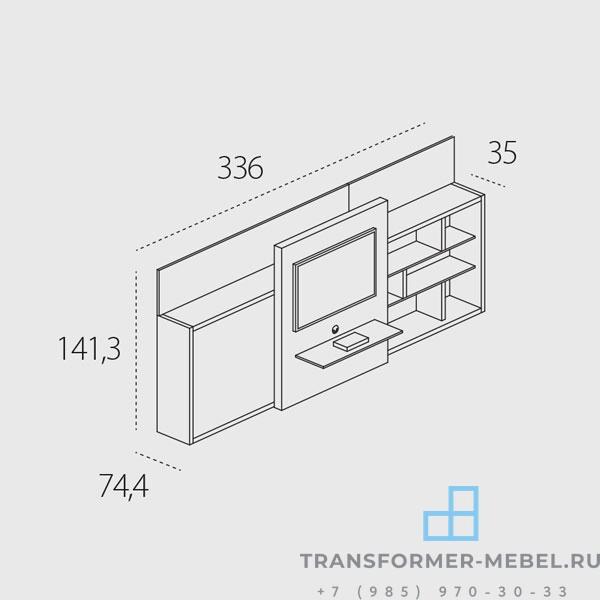 кровать встроенная в шкаф с телевизором 6