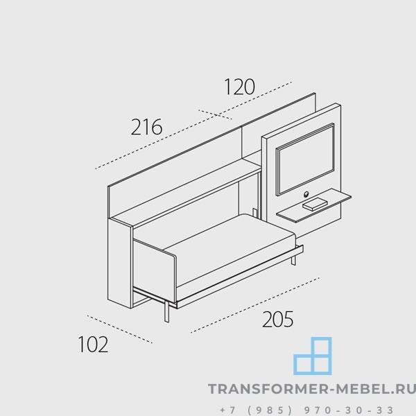 кровать встроенная в шкаф с телевизором 7