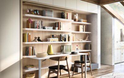 Кровать трансформер со столом и библиотекой — Италия