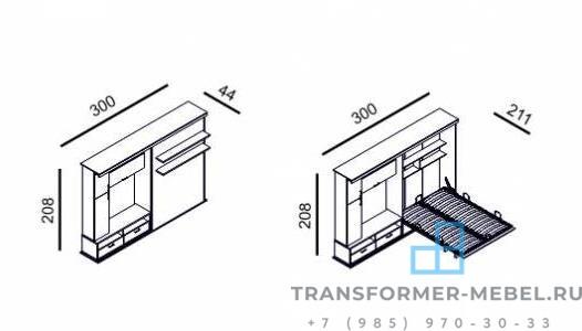шкаф кровать с телевизором 9